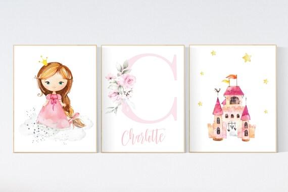 Princess nursery wall art, princess room decor for girls, baby girl nursery prints, girl room wall prints, girls room wall decor, pink