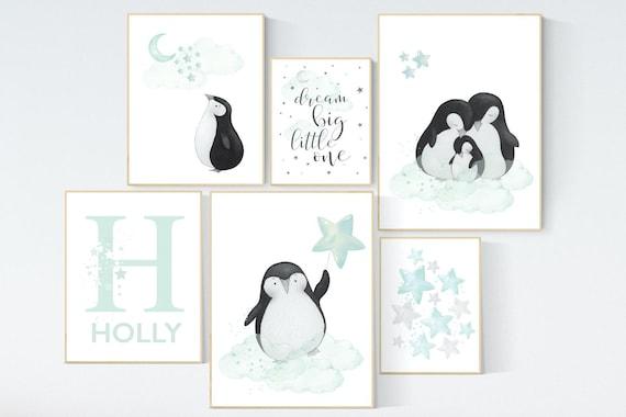 Nursery decor mint, mint green nursery, penguins, penguin, gender neutral nursery, mint green nursery wall decor, animal prints, wall decor