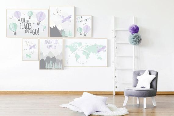 Nursery decor girl purple, adventure nursery, mountain nursery, adventure awaits, mountain, hot air balloon, world map, lavender Mint, lilac