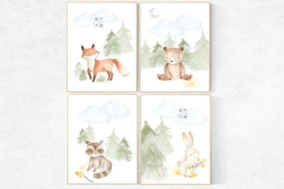 Woodland nursery decor, nursery wall art woodland animals, forest animal prints, gender neutral nursery art, nursery prints woodland animals