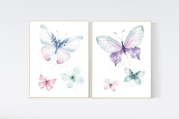 Nursery decor girl purple turquoise, Nursery decor girl butterfly, purple mint, Butterfly Nursery Art, Butterfly Nursery Decor, lilac