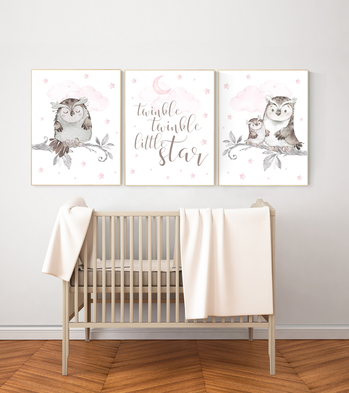 Owl Print Nursery Pink Nursery Decor Owl Nursery Wall Art Baby Girl Room Decor Twinkle Twinkle Little Star Nursery Ideas For Girls
