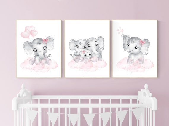 Nursery wall art girl elephant, Nursery decor girl pink and gray, girl nursery ideas, pink grey nursery wall decor, nursery prints girl