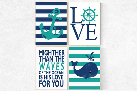 Nautical Nursery Decor, Nautical boy nursery, mightier than the waves, Nautical Nursery Wall Art teal navy nursery decor whale nursery decor