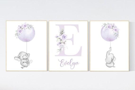 Canvas Listing: Nursery decor lilac, nursery decor girl boho, elephant, nursery wall decor girl, nursery prints floral, purple