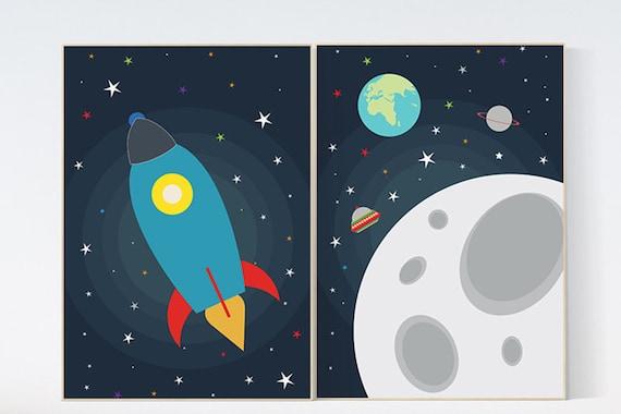 Space nursery decor, boys room decor, Kids room decor, rocket ship, Space themed nursery, Kids Wall Art, Outer Space Nursery Art, playroom