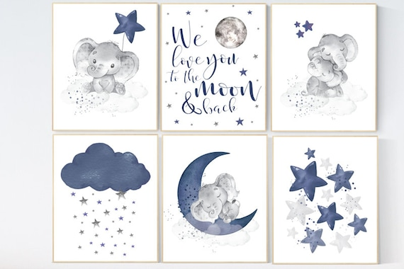 Navy blue nursery wall art, Nursery decor boy elephant, nursery wall art boy, moon and stars, we love you to the moon and back, navy room