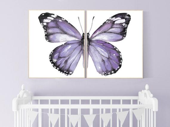 Nursery decor girl butterfly, nursery decor purple, nursery decor girl lilac, Butterfly Nursery Art, Girl Nursery Art, Butterfly 2 piece set