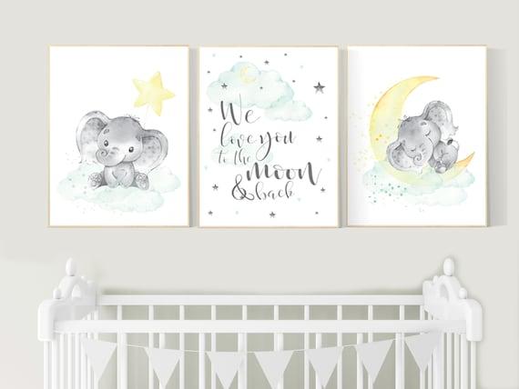 Mint and yellow nursery, gender neutral nursery wall art, moon and stars nursery, baby room decor, twin nursery, mint yellow nursery art