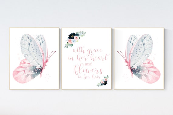 Nursery decor girl butterfly, Butterfly Nursery Art, Girl Nursery Art, Butterfly Nursery Decor for Baby Girl, flower nursery, light pink