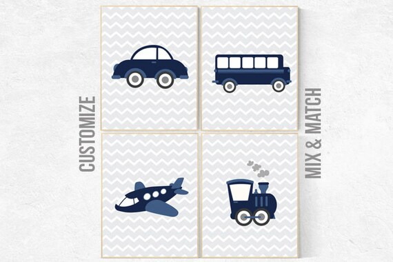 CANVAS LISTING: Transportation decor, nursery prints boy, Nursery decor boy, navy nursery decor, baby room decor boy