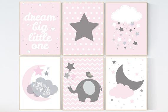 CUSTOMIZE! Nursery decor girl, Baby girl nursery decor, nursery decor elephant, Pink Gray Nurser, Baby Girl Nursery Decor, girls room decor,