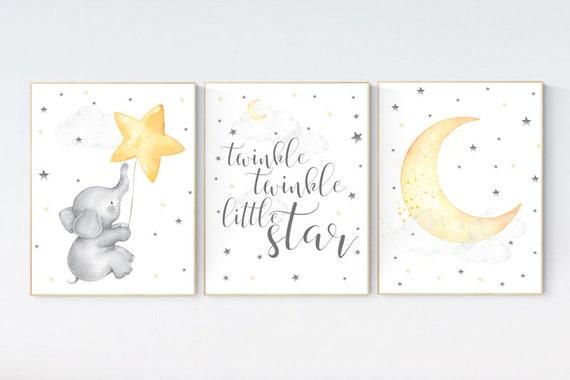 Twinkle twinkle little star, nursery decor neutral, yellow nursery, baby room art, elephant nursery wall art, gender neutral, moon nursery