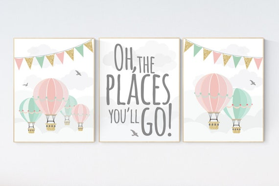 Pink, mint, gold nursery decor, nursery wall art girl, Pink, mint, gold, nursery art girl, hot air balloon nursery oh the places you'll go