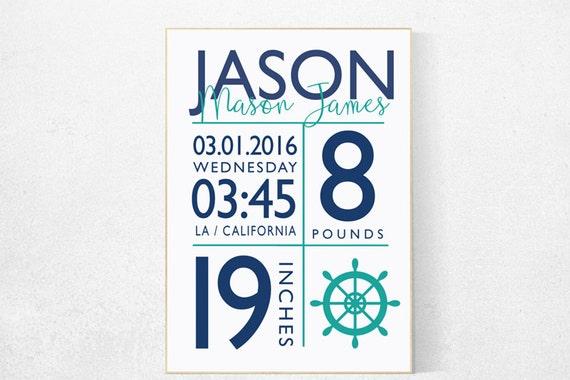 Birth announcement, Nautical boy nursery, birth stats print, nautical baby room, Nautical Nursery Wall Art, Navy Mint Nursery Decor, teal