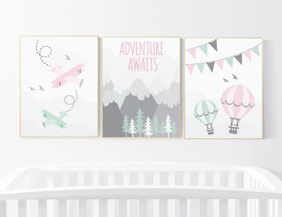 Nursery decor girl mountain, adventure nursery, nursery decor travel theme, world map mountain nursery, pink mint grey, girl room decor