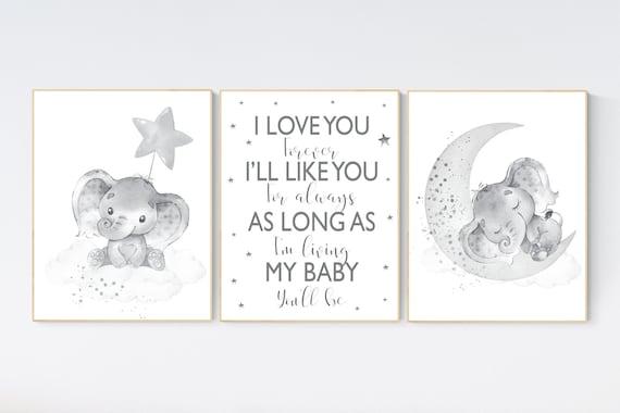 Nursery wall art gender neutral, gray nursery, elephant nursery wall decor, neutral nursery, baby room decor, grey nursery, unisex, twins