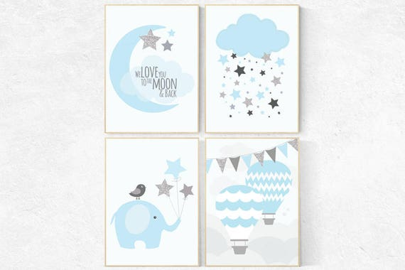 Nursery decor boy hot air balloon, nursery decor boy elephant, We love you to the moon and back, Blue gray nursery, blue and silver nursery