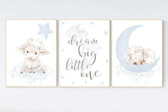 Sheep nursery decor, blue grey nursery, nursery decor lambs, nursery wall art sheep, baby boy nursery, gray blue, nursery wall decor
