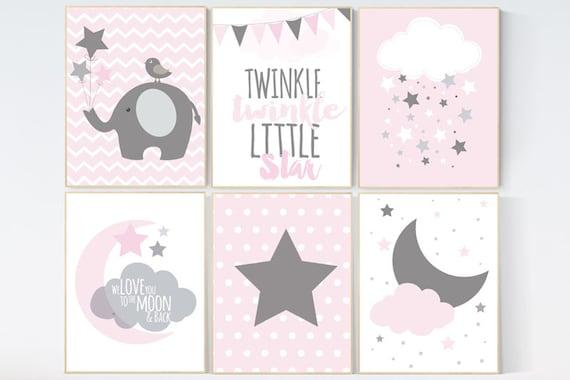 CUSTOMIZE! Pink Gray Nursery Art, Twinle twinkle, Baby Girl Nursery Decor, Nursery Print, Baby Girl Pink Nursery Art, pink gray, Baby Girl