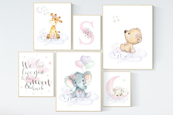 Nursery decor girl animals, nursery prints set, Nursery decor jungle, nursery prints animal, pink nursery art, elephant giraffe sheep bear