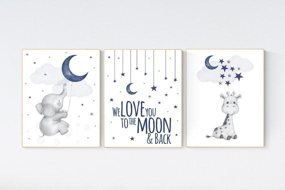 Nursery decor boy elephant, navy nursery decor, we love you to the moon and back, giraffe nursery, navy blue nursery art, elephant nursery