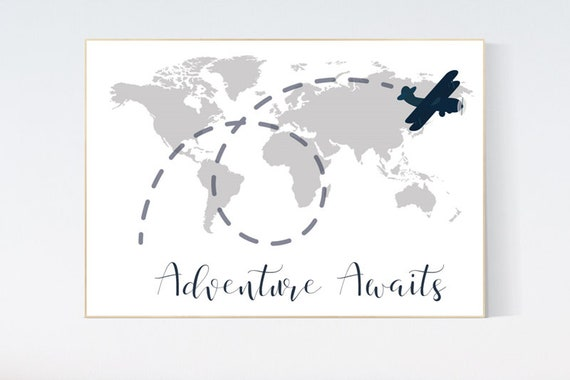 Nursery wall art map, adventure awaits, world map print, nursery decor boy mountains adventure, gray nursery, plane nursery decor, navy gray