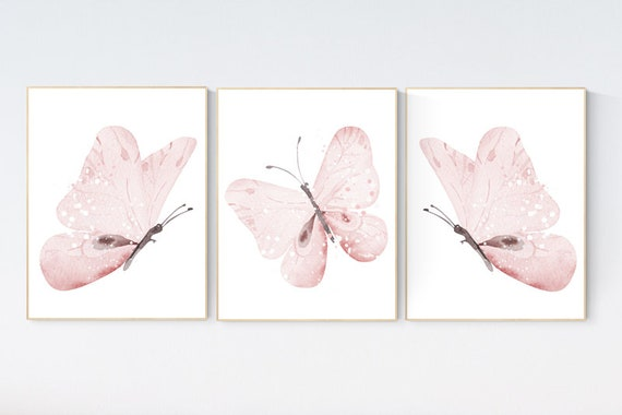 Nursery decor girl butterfly, Butterfly Nursery Art, Girl Nursery Art, Butterfly Nursery Decor for Baby Girl, flower nursery, light pink