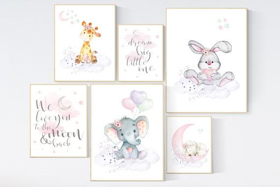 Nursery decor girl woodland, nursery prints set, Nursery decor jungle, nursery prints animal, pink nursery art, elephant giraffe sheep bunny