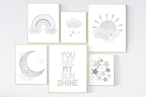 Nursery decor gender neutral, grey nursery, you are my sunshine, Nursery prints rainbow, nursery wall art neutral, gray nursery, moon star