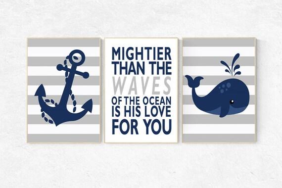 Nautical nursery prints, navy nursery decor, mightier than the waves of the sea, Nautical decor, whale nursery decor, set of 3, navy nursery