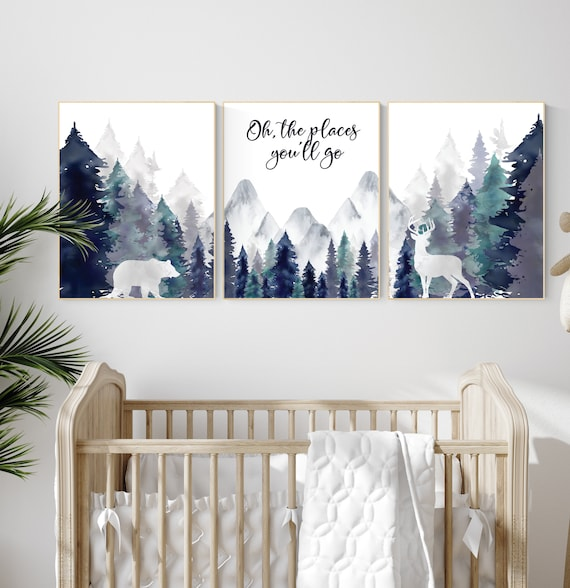 Woodland nursery decor, mountain wall art, tree nursery decor, adventure theme nursery, forest, navy and teal, woodland animals, woodland