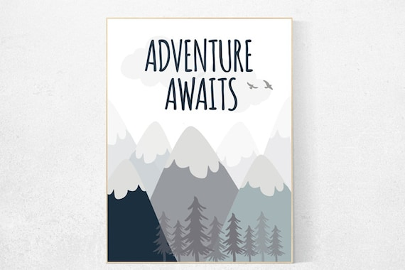 Nursery decor boy mountains adventure, nursery wall art woodland, adventure awaits nursery, nursery decor neutral, baby room decor mountains