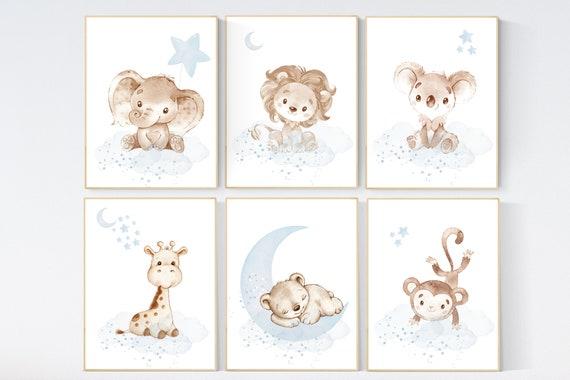 Nursery decor gender neutral, Nursery wall art animals, light blue, neutral, lion, bear, monkey, koala, elephant, giraffe, animal prints