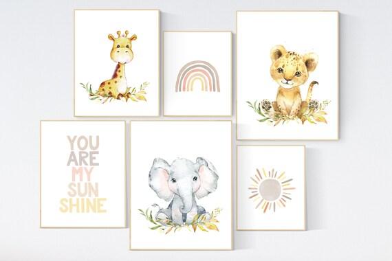 Nursery decor neutral, woodland animals, nursery prints, gender neutral, you are my sunshine, rainbow nursery, nursery wall art animals