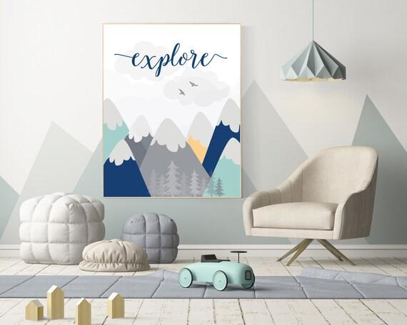 Nursery decor mountain, explore, mountain nursery wall art, woodland, adventure awaits, nursery decor neutral, baby room decor mountains