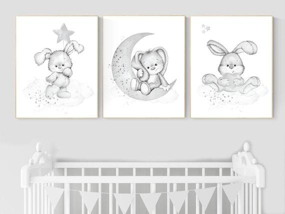 Nursery wall art grey, gray nursery, bunny, nursery decor neutral, baby room decor gender neutral, moon and stars, grey nursery decor