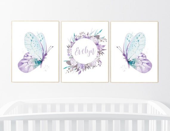 Nursery decor girl butterfly, purple turquoise, Nursery decor girl butterflies, purple mint, Butterfly Nursery Art, girl nursery name