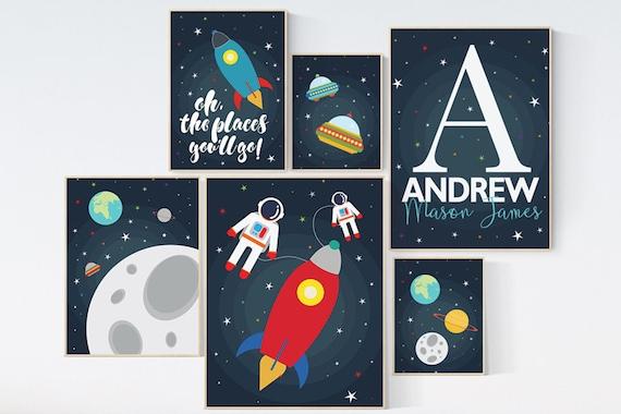 Space nursery print, nursery decor space, Space nursery, nursery decor boy, oh the places you'll go, outer space nursery, playroom decor