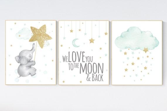 Nursery decor elephant, gender neutral, mint gold baby nursery, nursery wall decor, cloud and star nursery, we love you to the moon and back