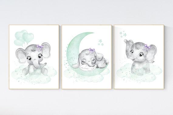 Elephant nursery art, elephant nursery print, mint and purple nursery decor, cloud and stars nursery, baby room , girl nursery, mint green