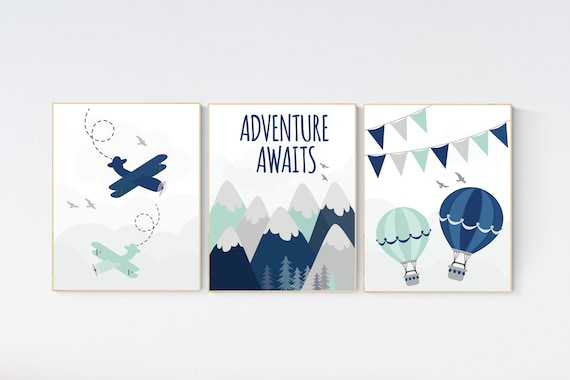 Adventure nursery decor, travel adventure nursery, nursery wall art boy, nursery prints boy mountain, airplane, world map, adventure awaits