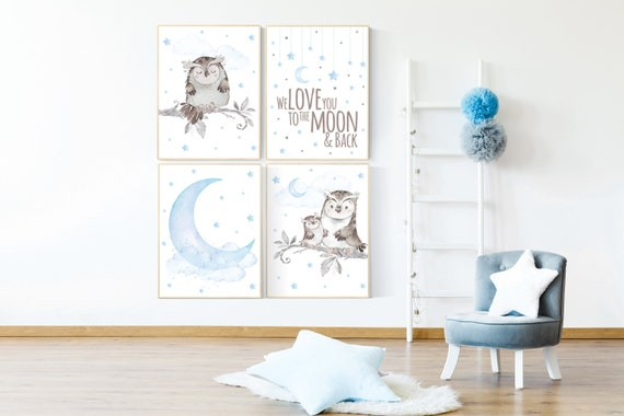 We love you to the moon and back, Nursery decor boy owls, owl nursery, nursery wall art boy, owl print nursery, baby blue nursery art