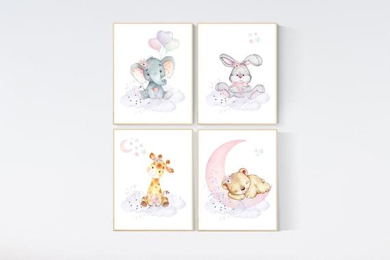 Animal nursery, jungle animals, elephant, giraffe, bear, bunny, nursery decor animals, Nursery wall art girl, girls room decor, woodland