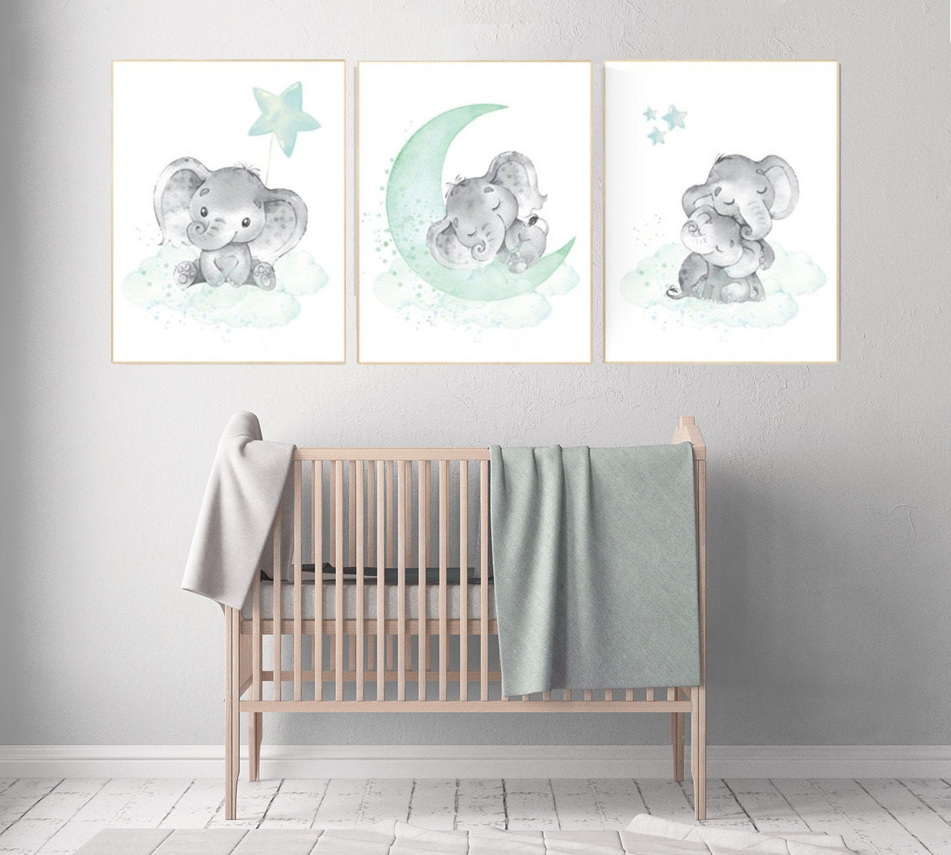 Nursery decor elephant, mint nursery decor, cloud and stars