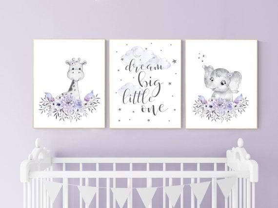 Nursery decor boho, Purple nursery, nursery wall art elephant, giraffe, nursery decor girl, nursery decor girl floral, lilac, lavender