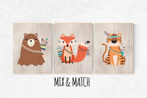 Woodland nursery, tribal nursery decor, woodland nursery, fox bear nursery decor, woodland nursery decor, fox, forest animals, kids room