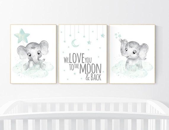 Baby Room Wall Decor Mint And Grey Nursery Elephant Theme | Etsy