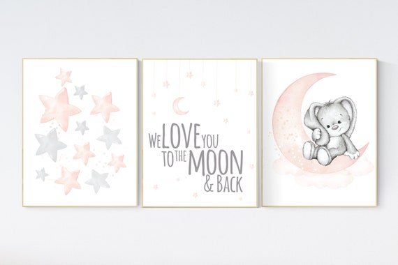 Nursery decor girl, Blush pink, cloud, stars, moon, blush nursery wall art, girls nursery wall decor, nursery prints girl, blush prints