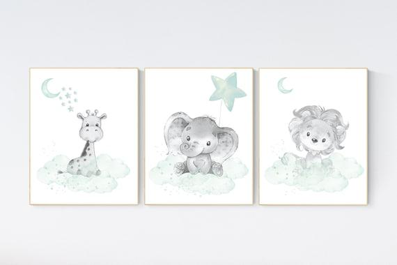 Nursery decor elephant, lion nursery, animal nursery prints, mint nursery, baby room wall decor, woodland animal prints, mint green, giraffe